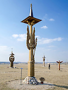 View of statutes at Angel Park near Trakai Castle, Trakai, Lithuania.