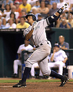 July 24, 2007 - Kansas City, MO..New York Yankees third basemen Alex Rodriguez hits the ball deep to left field in the ninth inning against the Kansas City Royals at Kauffman Stadium in Kansas City, Missouri on July 24, 2007...MLB:  The Yankees defeated the Royals 9-4.  .Photo by Peter G. Aiken/Cal Sport Media