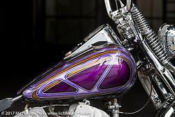 Bootleg Motorcycles' Yoji Kikuhara's 1957 Rikuo Harley-Davidson Flathead near his shop in Saitama Province, Japan. Tuesday December 5, 2017. Photography ©2017 Michael Lichter.