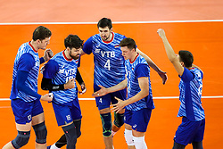 Players of Russia celebrate during volleyball match between National teams of Slovenia and Russia in quaterfinals of 2019 CEV Volleyball Men's European Championship in Ljubljana, on September 23, 2019 in Arena Stozice. Ljubljana, Slovenia. Photo by Matic Klansek Velej / Sportida