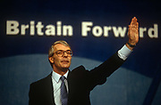 British Prime Minister, John Major acknowledges supporters during a Conservative party election rally on 18th March 1992, in Brighton, England. Major went on to win the election weeks later and was the fourth consecutive victory for the Conservative Party although it was its last outright win until 2015 after Labours 1997 win for Tony Blair.