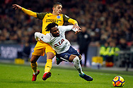 Anthony Knockaert of Brighton & Hove Albion (L) fouls Danny Rose of Tottenham Hotspur (R).Premier league match, Tottenham Hotspur v Brighton & Hove Albion at Wembley Stadium in London on Wednesday 13th December 2017.<br /> pic by Steffan Bowen, Andrew Orchard sports photography.