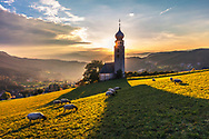 Remote chapel with a high bell tower in a middle of a green mountain meadow