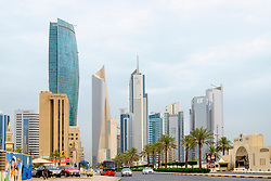 Modern skyscrapers in Central Business District (CBD) of Kuwait City , Kuwait.