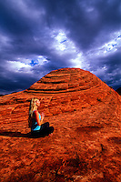 Woman doing yoga, Snow Canyon State Park, near Ivins (near St. George), Utah USA