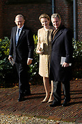 Hare Koninklijke Hoogheid Prinses Alexia, de jongste dochter van Zijne Koninklijke Hoogheid de Prins van Oranje en Hare Koninklijke Hoogheid Prinses Máxima, is zaterdag 19 november 2005 gedoopt in de Dorpskerk in Wassenaar. <br /> <br /> Baptism of Princess Alexia, the youngest daughter of Prince Willem-Alexander and Princess Máxima. Princess Alexia (born June 26, 2005) has been baptized in the church in Wassenaar. The ceremony was attended by The Dutch Royal Family and the parents of Princess Máxima.  <br /> <br /> Op de foto / On the photo:<br /> <br /> <br /> Zijne Koninklijke Hoogheid Prins Filip , Hare Koninklijke Hoogheid Prinses Mathilde van België  en Pieter van Vollenhoven<br /> <br /> His royal highness prince Filip , her royal highness princess Mathilde of Belgium and  Pieter van Vollenhoven