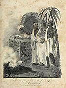 A woman going to Burn on the Funeral Pyre of her husband. Copperplate engraving From the Encyclopaedia Londinensis or, Universal dictionary of arts, sciences, and literature; Volume X;  Edited by Wilkes, John. Published in London in 1811