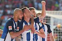 Fotball<br /> Tyskland<br /> Foto: Witters/Digitalsport<br /> NORWAY ONLY<br /> <br /> 0:2 Jubel v.l. John Anthony Brooks, Torschuetze Julian Schieber (Berlin) <br /> Ingolstadt, 10.09.2016, Fussball Bundesliga, FC Ingolstadt 04 - Hertha BSC Berlin