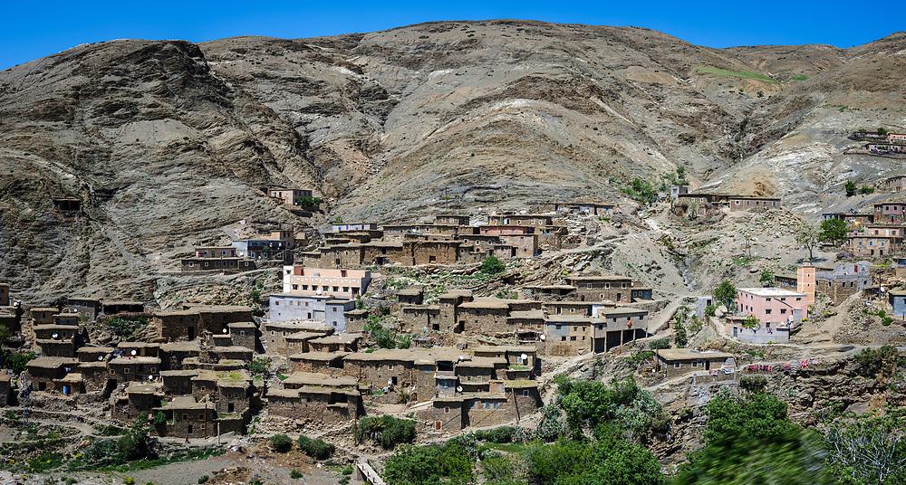 AIT BEN AMMAR, MOROCCO - CIRCA MAY 2018: Village of Ait Ben Ammar in the High Atlas Mountains, near the Tizi-n-Tichka mountain pass.