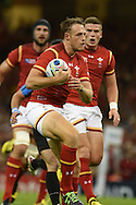 Cory Allen of Wales makes a break.Rugby World Cup 2015 pool A match, Wales v Uruguay at the Millennium Stadium in Cardiff, South Wales  on Sunday 20th September 2015.<br /> pic by  Andrew Orchard, Andrew Orchard sports photography.<br /> contact and payments to Andrew Orchard, 2 Old Vicarage close, Pengam, Blackwood, Gwent. NP12 3TU. Tel 07974 069129.  vat reg no 615 9784 04,  <br /> no unpaid use, All usage chargeable.  if self billing, please bacs to 20 10 26   20034991   Barclays