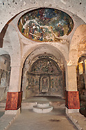 """Pictures & images of Sivisli (St Anargitios) Church interior, 9th century,  the Vadisi Monastery Valley, """"Manastır Vadisi"""",  of the Ihlara Valley, Guzelyurt , Aksaray Province, Turkey. .<br /> <br /> If you prefer to buy from our ALAMY PHOTO LIBRARY  Collection visit : https://www.alamy.com/portfolio/paul-williams-funkystock/vadisi-monastery-valley-turkey.html<br /> <br /> Visit our TURKEY PHOTO COLLECTIONS for more photos to download or buy as wall art prints https://funkystock.photoshelter.com/gallery-collection/3f-Pictures-of-Turkey-Turkey-Photos-Images-Fotos/C0000U.hJWkZxAbg"""