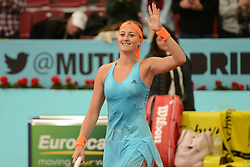 May 11, 2017 - Madrid, Spain - KRISTINA MLADENOVIC of France after winning her quarterfinal match v. S. Cirstea in the Mutua Madrid Open tennis tournament. (Credit Image: © Christopher Levy via ZUMA Wire)