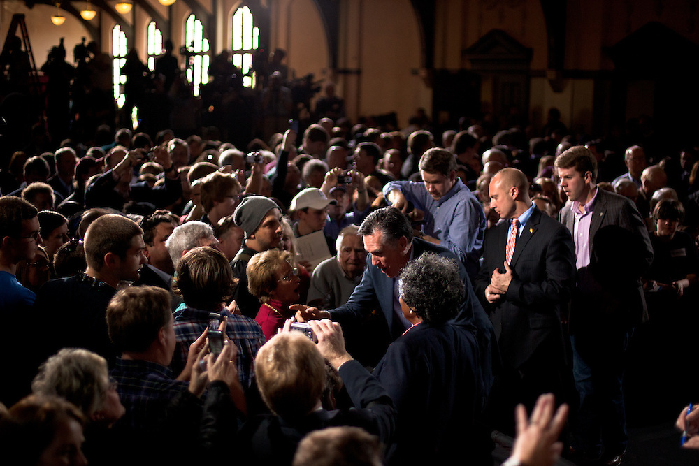 Mitt Romney greets his supporters after his speech at McBryde Hall on the Winthrop campus in Rock Hill, SC.