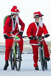 © under license to London News Pictures.  18/12/2010 Bikers from a local Plymouth bike club dressed as Santa meet on a snow covered Plymouth Hoe this morning (18/12/2010). Snow and cold weather has hit much of the South West of England. Picture credit should read: David Hedges/LNP.