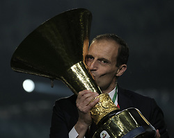 TURIN, May 20, 2019  FC Juventus' head coach Massimiliano Allegri poses with the trophy during the trophy ceremony at the end of the Serie A soccer match between FC Juventus and Atalanta in Turin, Italy, May 19, 2019. FC Juventus sealed the title with a 2-1 victory over FC Fiorentina on April 20, 2019. (Credit Image: © Alberto Lingria/Xinhua via ZUMA Wire)