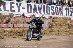 MattHarris riding his1965 Harley-Davidson Sportster XLCH at the Bradford Beach Brawl, a TROG style beach racing event, during the Harley-Davidson 115th Anniversary Celebration event. Milwaukee, WI. USA. Friday August 31, 2018. Photography ©2018 Michael Lichter.