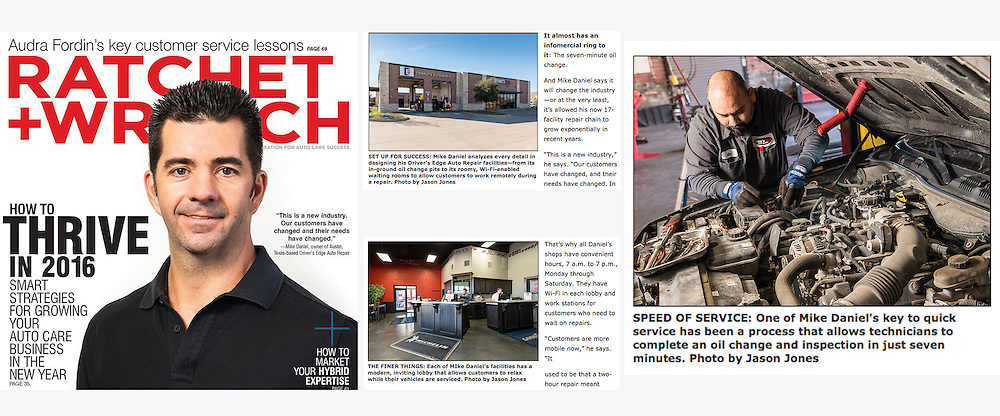 Editorial portraits of an automotive industry business owner for a magazine article, displayed as a tear sheet
