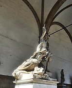 A statue group of the Rape of Polyxena, a diagonal sculpture by Pio Fedi, made in 1865. Stood in the statuary of the Loggia dei Lanzi, a building on a corner of the Piazza della Signoria in Florence, Italy. It adjoins to the Uffizi Gallery.