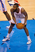 June 2, 2012; Oklahoma City, OK, USA; Oklahoma City Thunder guard James Harden (13) holds onto a rebound during a playoff game against the San Antonio Spurs at Chesapeake Energy Arena.  Thunder defeated the Spurs 109-103 Mandatory Credit: Beth Hall-US PRESSWIRE