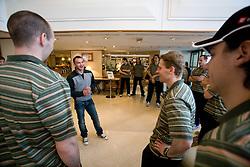Dejan Zavec and Ales Music at meeting of Slovenian Ice-Hockey National team and boxer Dejan Zavec - Jan Zaveck alias Mister Simpatikus, on April 15, 2010, in Hotel Lev, Ljubljana, Slovenia.  (Photo by Vid Ponikvar / Sportida)