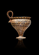 Minoan clay cup decorted design, Speial Palatial Style , Knossos Palace 1500-1450 BC BC, Heraklion Archaeological  Museum, black background. .<br /> <br /> If you prefer to buy from our ALAMY PHOTO LIBRARY  Collection visit : https://www.alamy.com/portfolio/paul-williams-funkystock/minoan-art-artefacts.html . Type -   Heraklion   - into the LOWER SEARCH WITHIN GALLERY box. Refine search by adding background colour, place, museum etc<br /> <br /> Visit our MINOAN ART PHOTO COLLECTIONS for more photos to download  as wall art prints https://funkystock.photoshelter.com/gallery-collection/Ancient-Minoans-Art-Artefacts-Antiquities-Historic-Places-Pictures-Images-of/C0000ricT2SU_M9w