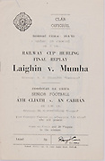 Interprovincial Railway Cup Hurling Cup Final Replay,  17.03.1963, 03.17.1963, 17th March 1963, referee S O Gliasam, Leinster 2-07, Munster 2-08,.