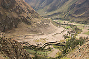 The large ruins of Patallacta in view from the Inca Trail to Machu Picchu, Peru.