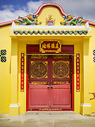 27 DECEMBER 2014 - PHUKET TOWN, PHUKET, THAILAND: A doorway at Pud Jor Shrine, a large Chinese shrine in Phuket town. Phuket has a large Chinese minority that is active in business and civic life.    PHOTO BY JACK KURTZ
