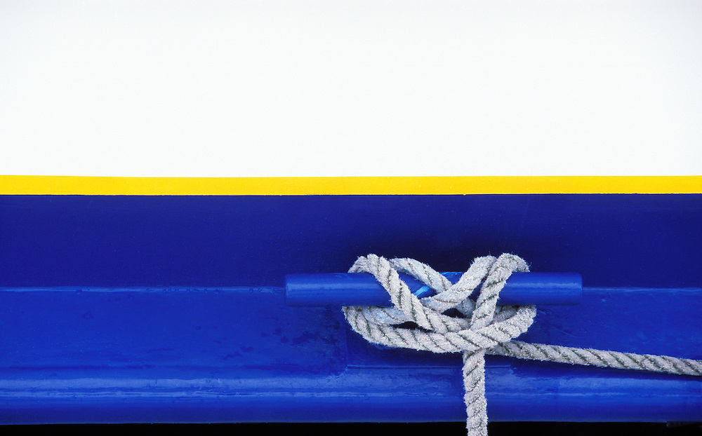 A cleat and rope on an Alaskan tour boat, Seward, Alaska, USA.