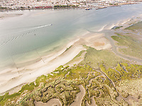 Abstract aerial view of Formosa lagoon in the Algarve in Portugal.
