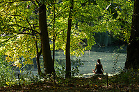 Quiet time at The Pool in Central Park as Autumn colors are starting to appear; Oct. 15, 2021.