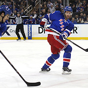 Dominic Moore, (right), New York Rangers, in action during the New York Rangers Vs Philadelphia Flyers, NHL regular season game at Madison Square Garden, New York, USA. 26th March 2014. Photo Tim Clayton