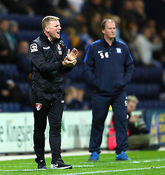 Bournemouth Manager, Eddie Howe encourages his team ahead of Preston North End Manager, Simon Grayson- Mandatory byline: Matt McNulty/JMP - 07966386802 - 22/09/2015 - FOOTBALL - Deepdale Stadium -Preston,England - Preston North End v Bournemouth - Capital One Cup - Third Round