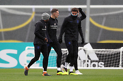 England's (left-right) Fabian Delph, Phil Jones and Deli Ali during a training session at Spartak Zelenogorsk Stadium.