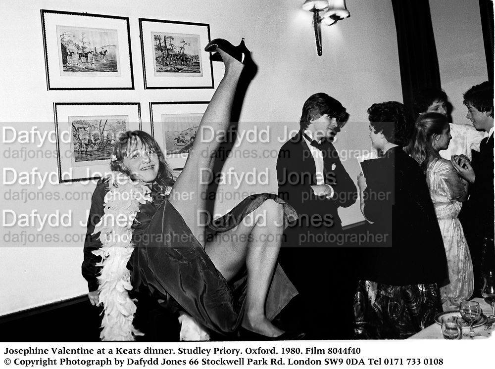 Josephine Valentine at a Keats dinner. Studley Priory. Oxford. 1980. Film 8044f40<br />© Copyright Photograph by Dafydd Jones<br />66 Stockwell Park Rd. London SW9 0DA<br />Tel 0171 733 0108