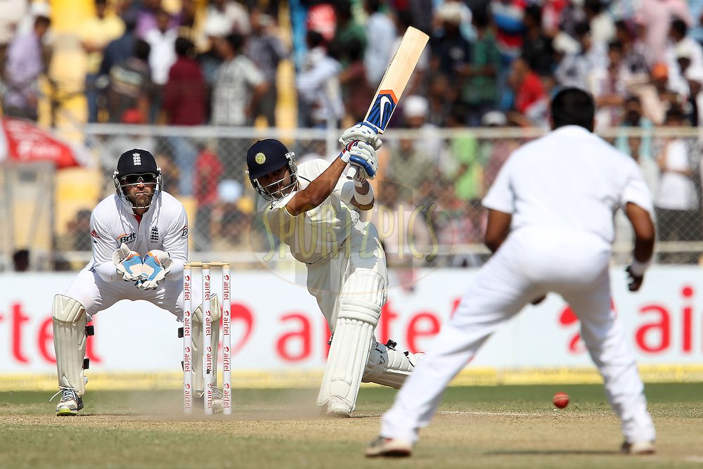 Virat Kohli of India knocks Samit Patel of England for four to leave India needing two to win during day five of the 1st Airtel Test Match between India and England held at the Sadar Patel Stadium in Ahmedabad, Gujarat, India on the 19th November 2012...Photo by Ron Gaunt/ BCCI/ SPORTZPICS..Use of this image is subject to the terms and conditions as outlined by the BCCI. These terms can be found by following this link:..http://www.sportzpics.co.za/image/I0000SoRagM2cIEc