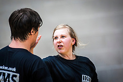 P1 students takes up position for a strike. Franklyn Hartkamp takes the Institute Of Krav Maga Scotland grading today at Stirling.<br /> ©Michael Schofield.