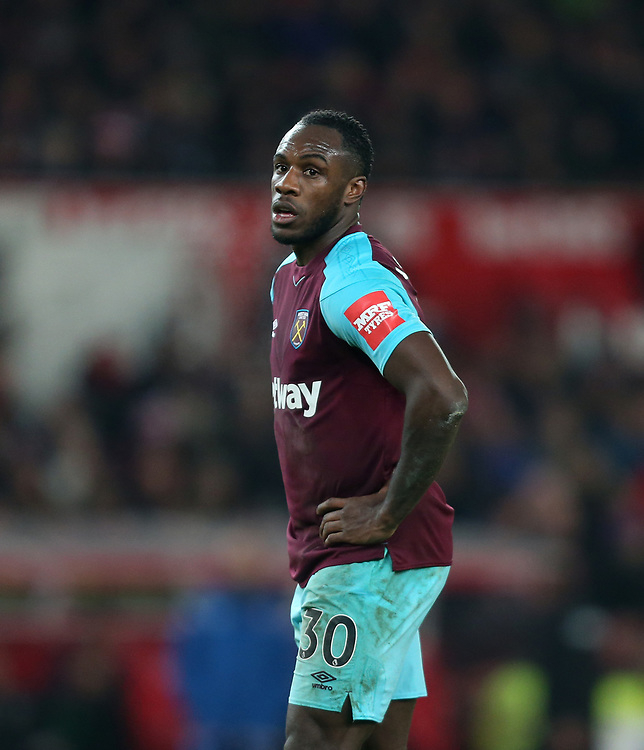 West Ham United's Michail Antonio<br /> <br /> Photographer Rob Newell/CameraSport<br /> <br /> The Premier League - Stoke City v West Ham United - Saturday 16th December 2017 - Britannia Stadium - Stoke-on-Trent <br /> <br /> World Copyright © 2017 CameraSport. All rights reserved. 43 Linden Ave. Countesthorpe. Leicester. England. LE8 5PG - Tel: +44 (0) 116 277 4147 - admin@camerasport.com - www.camerasport.com