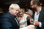 RACHEL JOHNSON; BORIS JOHNSON; CHARLIE MCVEIGH, Party to celebrate the publication of 'Winter Games' by Rachel Johnson. the Draft House, Tower Bridge. London. 1 November 2012.