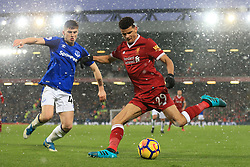 10th December 2017 - Premier League - Liverpool v Everton - Jonjoe Kenny of Everton battles with Dominic Solanke of Liverpool - Photo: Simon Stacpoole / Offside.