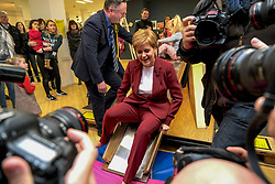 """Nicola Sturgeon begins election campaign in Stirling, Wednesday, 30th October 2019<br />  <br /> Scotland's First Minister and leader of the Scottish National Party Nicola Sturgeon joined Alyn Smith, the SNP's candidate for Stirling, on the campaign trail in Stirling today.<br />  <br /> The First Minister vowed to """"take the fight to the Tories"""" in a general election, to escape from Brexit and let Scotland decide its own future.<br />  <br /> Speaking ahead of her visit, Nicola Sturgeon said:<br />  <br /> """"The SNP is ready for an election. We stand ready to take the fight to the Tories, to bring down this undemocratic government, and give Scotland the chance to escape from Brexit and decide our own future.<br />   <br /> """"Scotland has been ignored and treated with contempt by Westminster, and this election is an opportunity to bring that to an end.<br />  <br /> """"A win for the SNP will be an unequivocal and irresistible demand for Scotland's right to choose our own future.""""<br />  <br /> The First Minister also met with staff and local children to see and discuss the Stirling Spider Slide exhibition.<br /> <br /> Pictured: Nicola Sturgeon MSP and Alyn Smith MEP walk around Stirling and meet locals and activists<br /> <br /> Alex Todd 