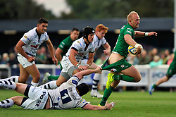 Shane Geraghty (London Irish) makes a break - Photo mandatory by-line: Patrick Khachfe/JMP - Mobile: 07966 386802 22/08/2014 - SPORT - RUGBY UNION - Middlesex - Hazelwood - London Irish v Bristol Rugby - Pre-Season Friendly