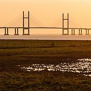 Last light, Second Severn Crossing, Avon.