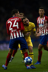 November 6, 2018 - Madrid, Spain - Paco Alcacer of Borussia Dortmund and Jose Maria Gimenez of Atletico Madrid battle for the ball during the Group A match of the UEFA Champions League between AtleticoLucien Favre of Borussia Dortmund Madrid and Borussia Dortmund at Wanda Metropolitano Stadium, Madrid on November 07 of 2018. (Credit Image: © Jose Breton/NurPhoto via ZUMA Press)