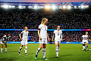 PARIS, FRANCE - JUNE 28: Samantha Mewis of the USA, center, prepares for the second half of the 2019 FIFA Women's World Cup France Quarter Final match between France and USA at Parc des Princes on June 28, 2019 in Paris, France. (Photo by Maddie Meyer - FIFA/FIFA via Getty Images)