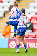 GOAL Reading midfielder Natasha Harding (11) (right) celebrates with Reading midfielder Rachel Rowe (23) after scoring during the FA Women's Super League match between Manchester United Women and Reading LFC at Leigh Sports Village, Leigh, United Kingdom on 7 February 2021.