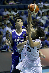 QUEZON Quezon City, May 14, 2017  Kai Sotto of the Philippines (L) competes against Chenbin Li of Singapore (R) during their match in the 2017 SEABA junior men's championship tournament in Quezon City, the Philippines, May 14, 2017. The Philippines won, 108-42.  2017?5?14? (Credit Image: © Rouelle Umali/Xinhua via ZUMA Wire)