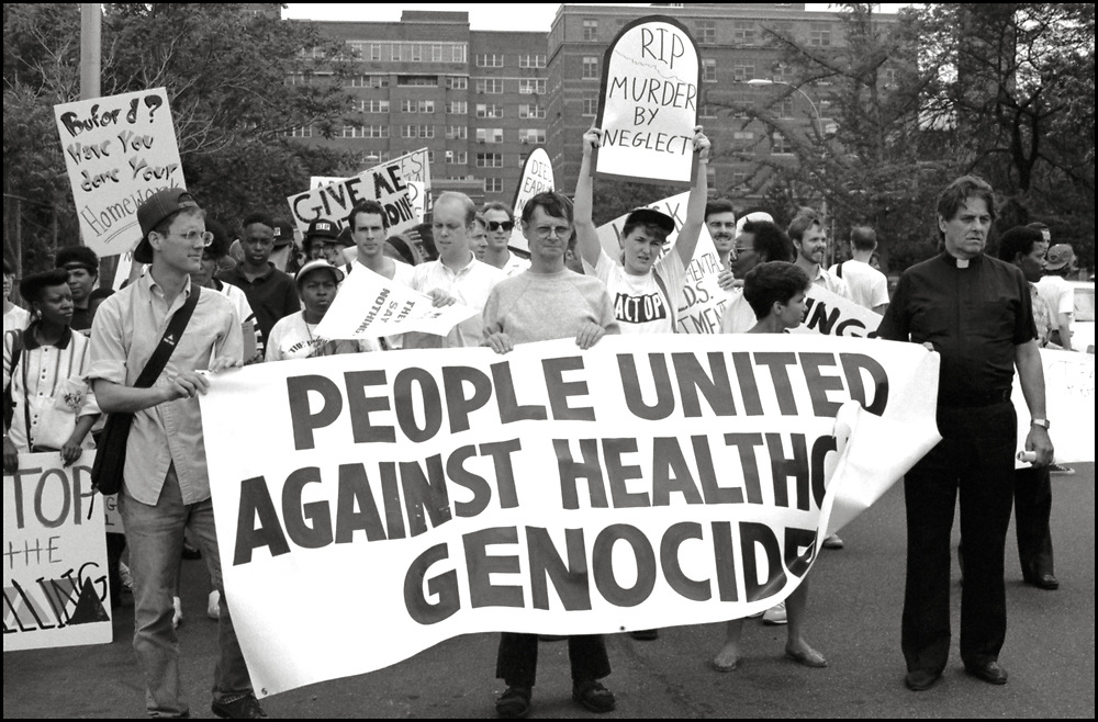ACT UP NY joins People Alliance Community Organization Inc., in June of 1989, to protest James Bufford, the executive director of the Kings County Hospital Center, NYC Mayor Ed Koch regarding healthcare discrimination and lack of affordable healthcare for people of color and people with AIDS.
