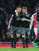 Football - 2016 / 2017 League [EFL] Cup - Quarter-Final: Arsenal vs. Southampton<br /> <br /> Jordy Clasie of Southampton celebrates scoring their first goal with Harrison Reed at The Emirates <br /> <br /> COLORSPORT/ANDREW COWIE