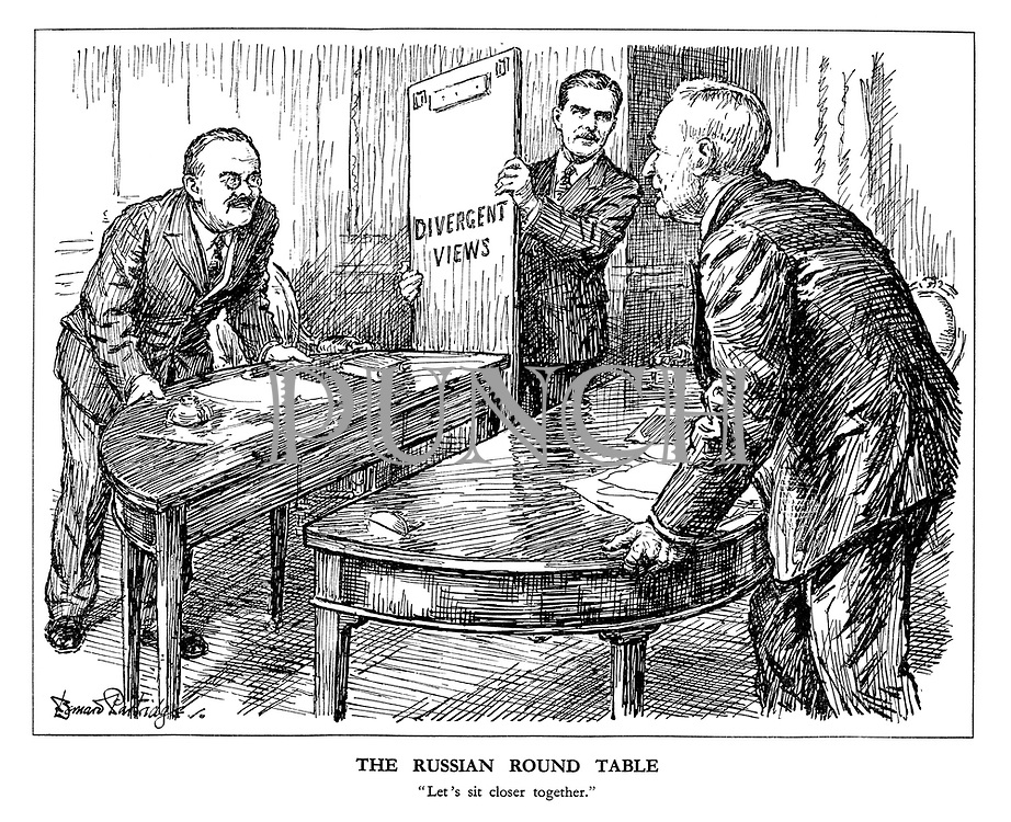 """The Russian Round Table. """"Let's sit closer together."""" (Britain's Anthony Eden removes the middle panel of Divergent Views as Russia's Vyacheslav Molotov and America's Cordell Hull agree to move the negotiating table together)"""